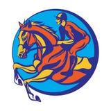 Hästridning, ridninghäst med jockeyn Royaltyfria Foton