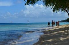Hästridning, västra kostnadsstrand, Barbados Arkivfoto
