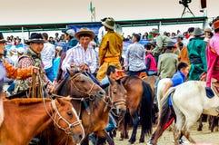 Hästryggåskådare, Nadaam hästkapplöpning, Mongoliet Royaltyfria Bilder