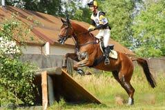 hästryggen hoppar den hinderrussia triathlonen fotografering för bildbyråer