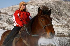 hästryggkvinnor royaltyfri bild