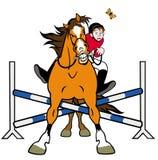 Hästshowjumpingkarikatyr Royaltyfria Foton