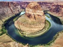 Hästskokrökning, Glen Canyon, sida royaltyfria bilder
