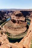 Hästskokrökningen är en turist- dragning i Arizona Royaltyfria Bilder