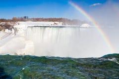 Hästskonedgångar på Niagara Falls i vinter Arkivfoto