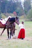 Hästskrubbsår på en äng Royaltyfria Foton