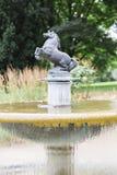 Hästspringbrunnen parkerar in med hästen arkivfoton
