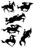 hästsymbolsset stock illustrationer