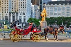 Hästvagn framme av den storslagna arméplazaen i New York City Arkivbilder