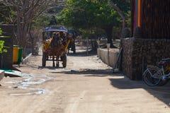 Hästvagn på den Gili ön royaltyfri fotografi