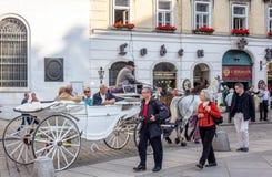 Hästvagnar på den St Michael fyrkanten i Wien arkivbilder