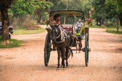 Hästvagnen för forntida tempel turnerar i den arkeologiska zonen, gränsmärket och populärt för turist- dragningar och destination royaltyfria bilder