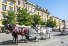 Hästvagnen för stadssight turnerar i Krakow Arkivbilder