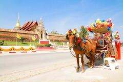 Hästvagnen i Lampang Arkivfoton