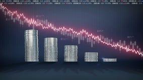 Häufen Sie oben goldene Münzen an und verringern Sie rote Wellenformlinie, ausgedrückte Börse der Verminderung, Wirtschaftsrendit stock footage