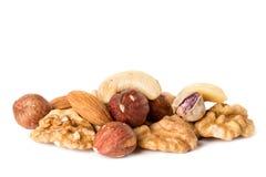 Häufen Sie von den verschiedenen Arten der nuts Mandel, Walnuss, Haselnuss, Acajoubaum, Paranuss, die auf Weiß lokalisiert wird Lizenzfreie Stockbilder