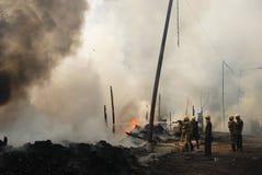 Häufiges Feuer in Elendsvierteln von Kolkata Stockbilder