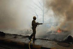 Häufiges Feuer in Elendsvierteln von Kolkata Stockfoto