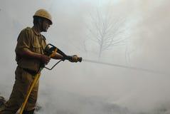 Häufiges Feuer in Elendsvierteln von Kolkata Stockbild