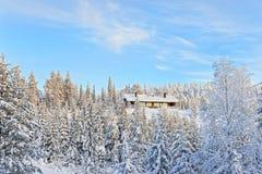 Häuschen in einem Hügel über dem Schnee bedeckte Wald in Ruka in Finla Stockfotos
