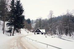 Häuschen im schneebedeckten Gebirgsland, nebeliger Wintertag, Tschechische Republik stockfotografie