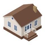 Häuschen, kleines Holzhaus für Real Estate-Broschüren oder Netz-Ikone Lizenzfreie Stockfotografie