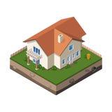 Häuschen, kleines Holzhaus für Real Estate-Broschüren oder Netz-Ikone Stockfotografie