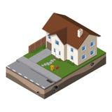 Häuschen, kleines Holzhaus für Real Estate-Broschüren oder Netz-Ikone stock abbildung