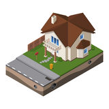 Häuschen, kleines Holzhaus für Real Estate-Broschüren oder Netz-Ikone Mit Yard grünes Gras, Boden Isometrischer Vektor EPS10 Lizenzfreies Stockfoto