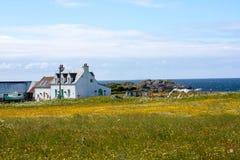 Häuser abd Felder von Iona im inneren Hebrides, Schottland Lizenzfreie Stockfotos