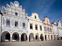 Häuser auf dem Quadrat, tschechisch Stockfotografie