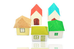 Häuser auf dem weißen Hintergrund Stockfotografie