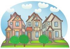 Häuser auf der Straße stock abbildung