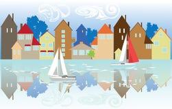 Häuser auf der Ufergegend Lizenzfreie Stockfotografie