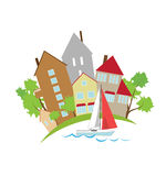 Häuser auf der Ufergegend Stockfotografie