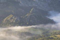 Häuser auf einer grünen Wiese in den Bergen zwischen Nebel stockfotos
