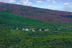 Häuser auf grünem Hügel nahe Feuer-Linie Lizenzfreie Stockfotos