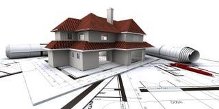 Häuser auf Plan des Architekten Stockfoto