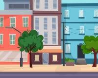 Häuser auf Straße mit Straße in der Stadt cityscape lizenzfreie abbildung