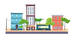 Häuser auf Straße mit Straße in der Stadt cityscape stock abbildung