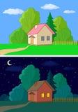 Häuser auf Waldrand lizenzfreie abbildung