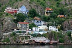 Häuser aufgebaut in den Berg stockbild