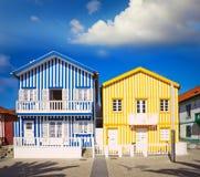 Häuser in Costa Nova, Aveiro, Portugal Stockfotografie