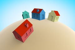 Häuser 3D Lizenzfreie Abbildung