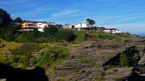 Häuser in den Felsen Stockfoto