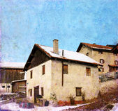 Häuser in den Schweizer Alpen Lizenzfreies Stockbild