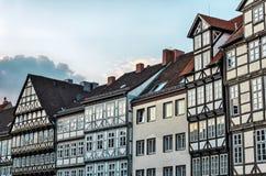 Häuser in der alten Stadt von Hannover, Deutschland lizenzfreie stockbilder
