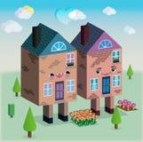 Häuser in der Grafik des Liebesvektors 3D Stockbilder
