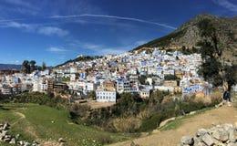 Häuser der himmlischen Stadt von Chefchaouen in Marokko Stockfoto