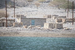 Häuser an der Musandam Halbinsel Stockbild